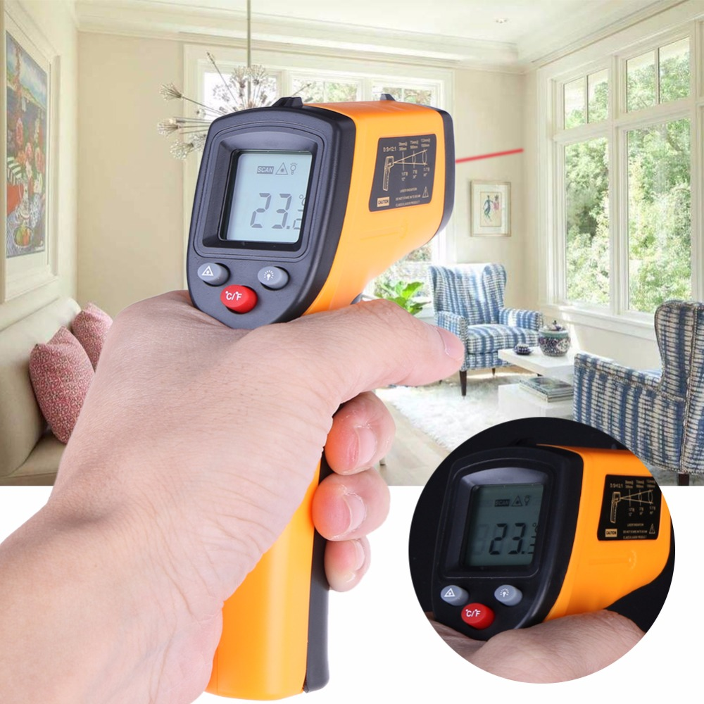 GM320-50~380C Digital infrared Thermometer laser Temperature Gun Handheld Temperature Tester Laser Gun Pyrometer AAA Battery