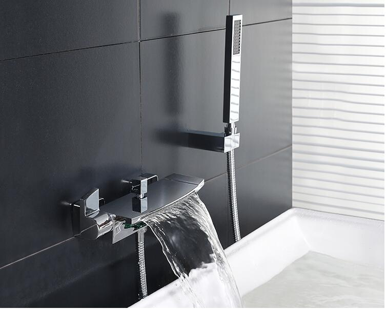 new arrival top high quality chrome Wall Mounted waterfall Bathtub Faucet set with 1.5m hose,brass shower head and seat