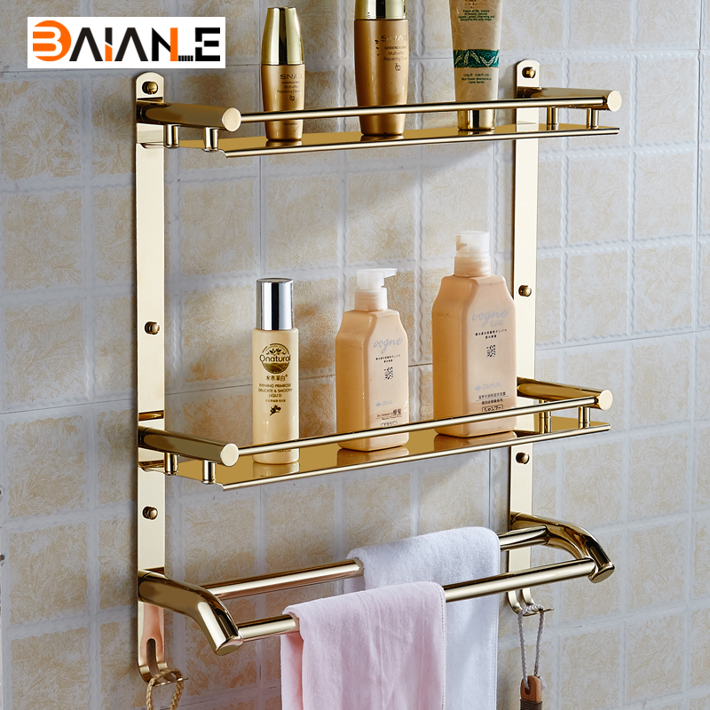 Wall mounted bathroom shelf Stainless steel bathroom towel rack shelf hanging towel holder multi-functional widgets