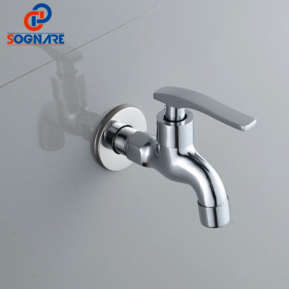 SOGNARE Chrome Bibcock,Single Cold Tap, Wall Mounted Washing Machine Faucet,Toilet Bibcock,Outdoor Faucet For Garden Faucet D521