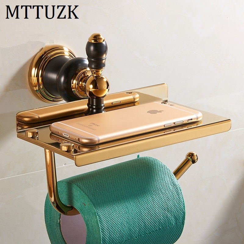 MTTUZK New Luxury Wall Mounted Brass Gold Paper Box Roll Holder Toilet Paper Holder Shelves Tissue Box Bathroom Accessories