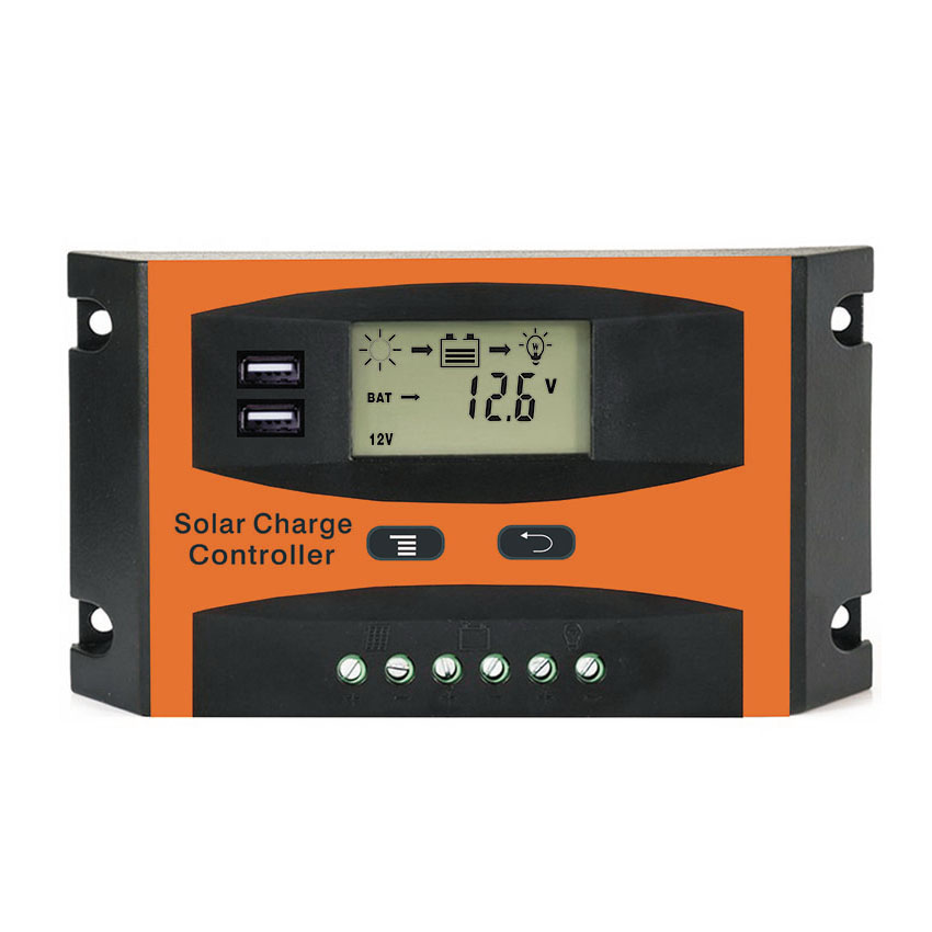 10A 20A 30A PWM 12V 24V Solar Controller LCD Function Dual USB 5VDC Output Solar cells Panel Battery Charge Regulator
