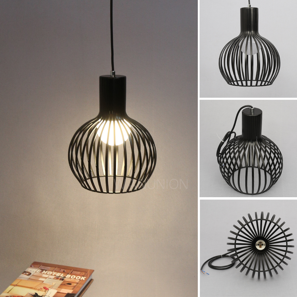 Retro Vintage Edison Pendant Light Bulb Iron Guard Wire Cage Ceiling Room On Wiring Led Lights Hanging Fitting Bar Cafe