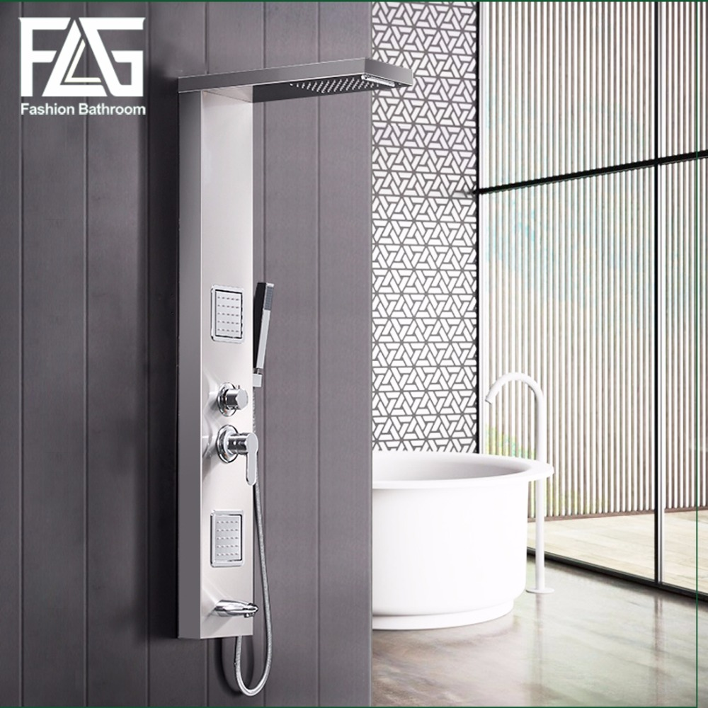 FLG 304SUS Bathroom  Rain Shower Panel Brushed Nickel Shower Column Tub Jets Hand Shower Wall Panels With Body Massage