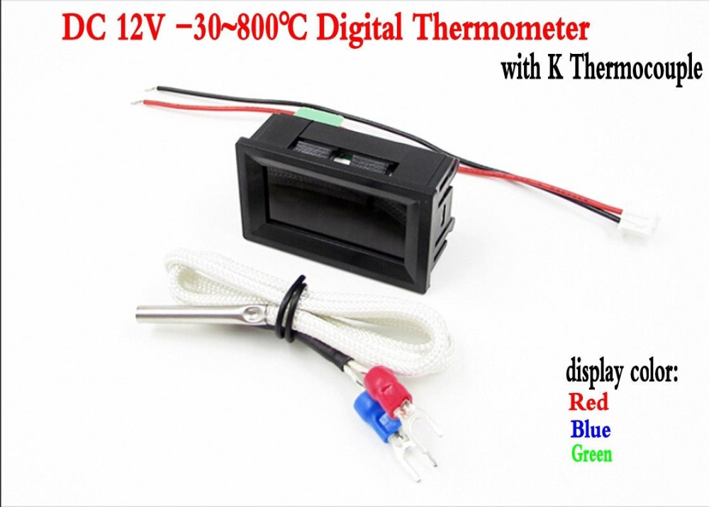 DC 12V -30~800 Digital Thermometer Temperature Test Panel Meter +K Thermocouple