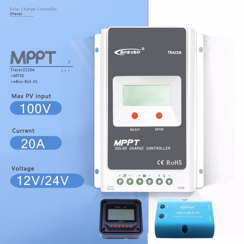 MPPT 20A Tracer 2210A LCD Solar Charge Controller 12V/24V Auto Solar Battery Charge Regulator with EBOX-BLE and  MT50 Meter
