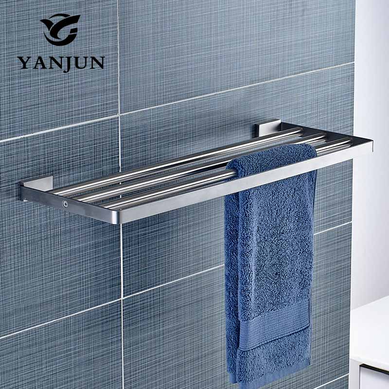 YANJUN Wall-mounted Stainless Steel 304 Towel Racks Towel Shelf Bathroom Accessories For Home YJ-81982