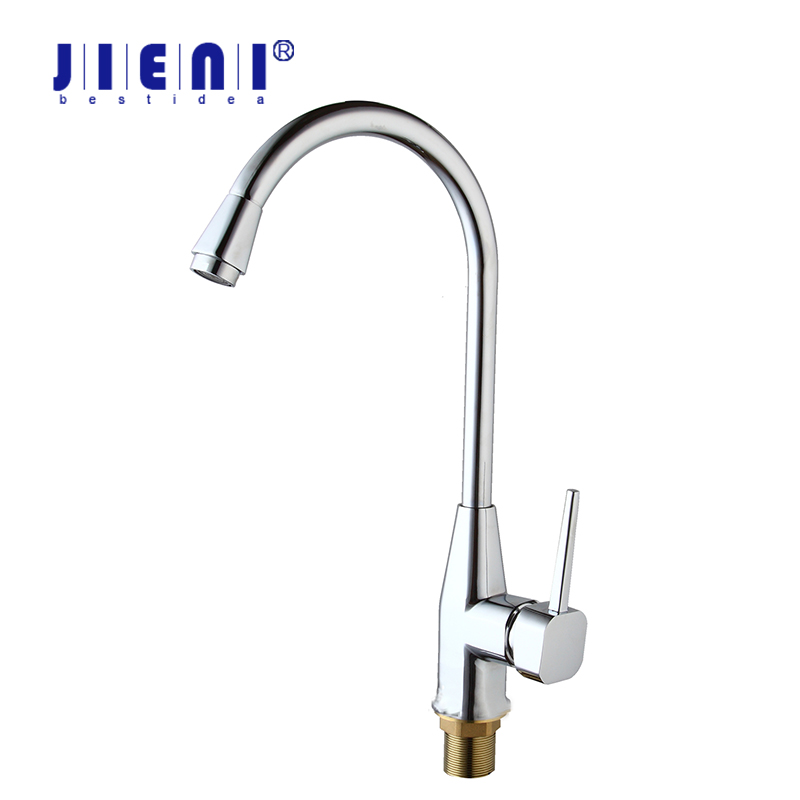 JIENI RU Bathroom Sink Basin Faucet Deck Mount Bright Chrome Washing Basin Mixer Water taps Hot &Cold Water Mixer Taps