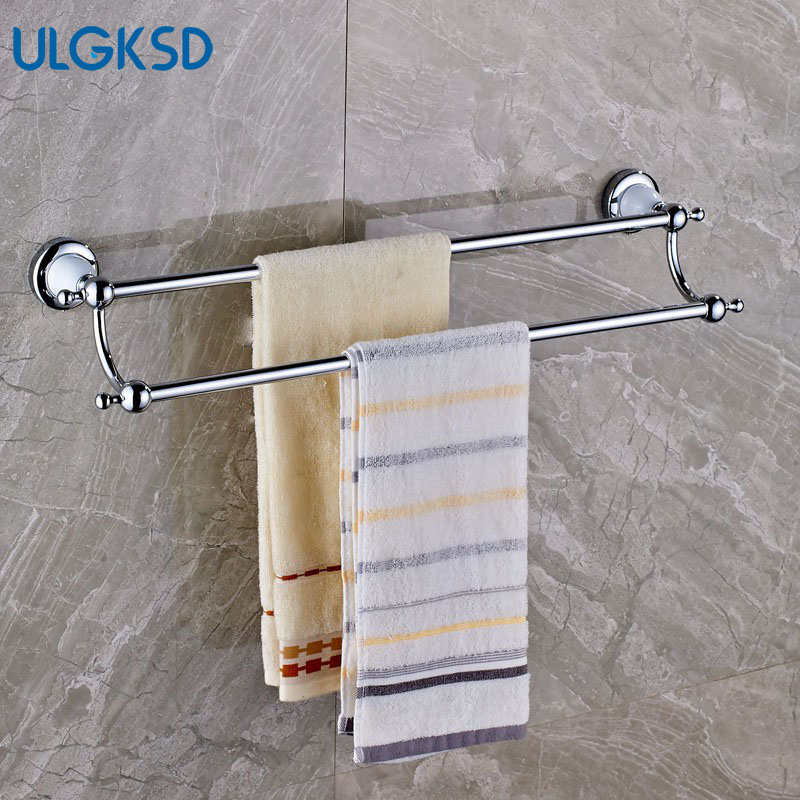 Ulgksd Double Bath Towel Rack Solid Brass Chrome Bathroom Accessories Wall Mounted Towel Holders for Kitchen Towel Hanger