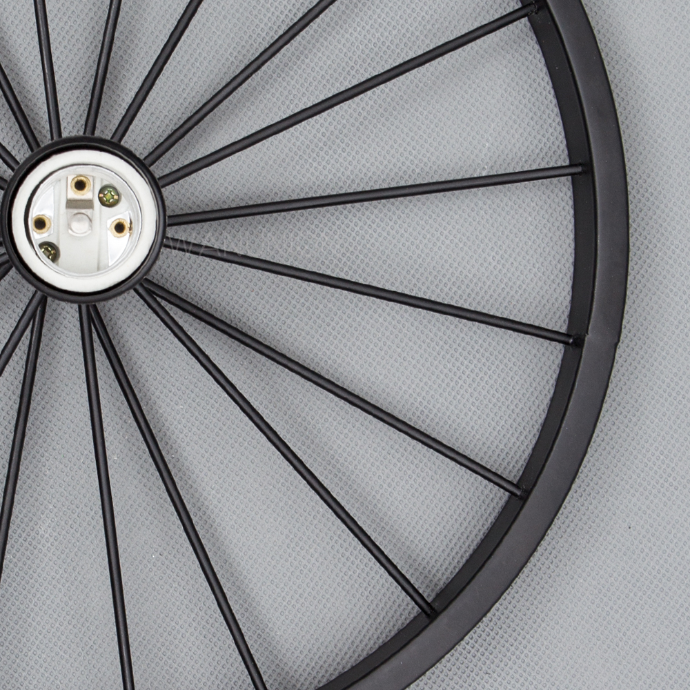 Industrial Style Pendant Light with Black Iron Wheel-Like Retro Ceiling Lamp For Indoor Decors