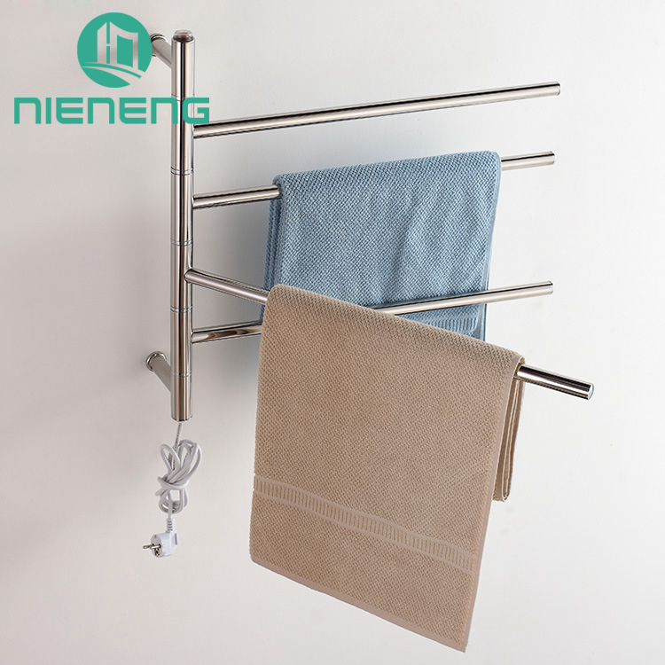 Nieneng Rotatable Heated Towel Rail Holder Bathroom Towel Rack 304 Stainless Steel Electric Towel Warmer Dryer Heater ICD60583