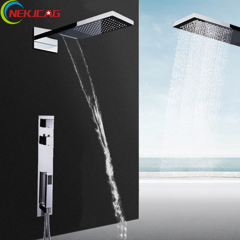 Bathroom Shower Set Chrome Thermostatic Rain Waterfall Shower Faucet Dual Handle Wheel with Handheld Shower