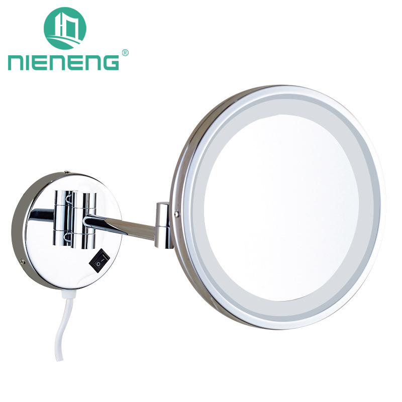 Nieneng Makeup Mirrors LED Bathroom LED Light Mirror 5X 10X Bath Mirror Make up Toilet Magnifying Mirror Accessories ICD60531