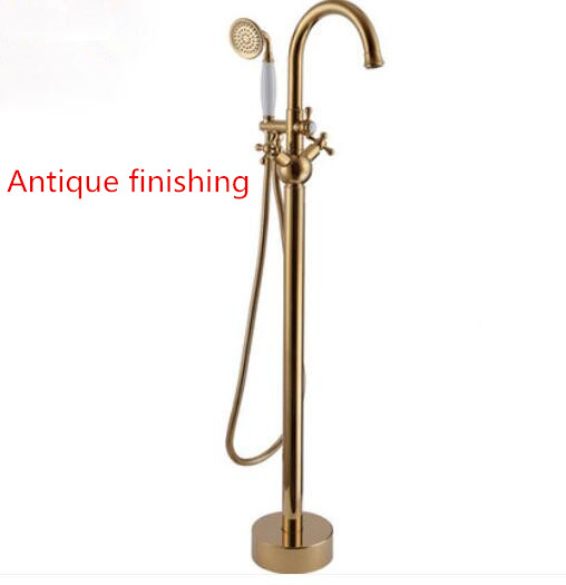 Golden  Brass Gold & Antique Finished Freestanding Bathtub mixer Bath Shower Floor Mounted Tub Faucet 61018-885