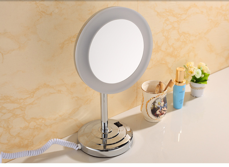 Nieneng Led Mirror Makeup Mirrors Table Model Bathroom LED Light Mirror 5X 10X Bath Make up Mirror Magnifying Hardware ICD60540