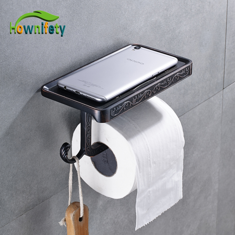 Oil Rubbed Bronze Solid Brass Bathroom Toilet Paper Holder Bathroom Tissue Accessories with Phone Holder