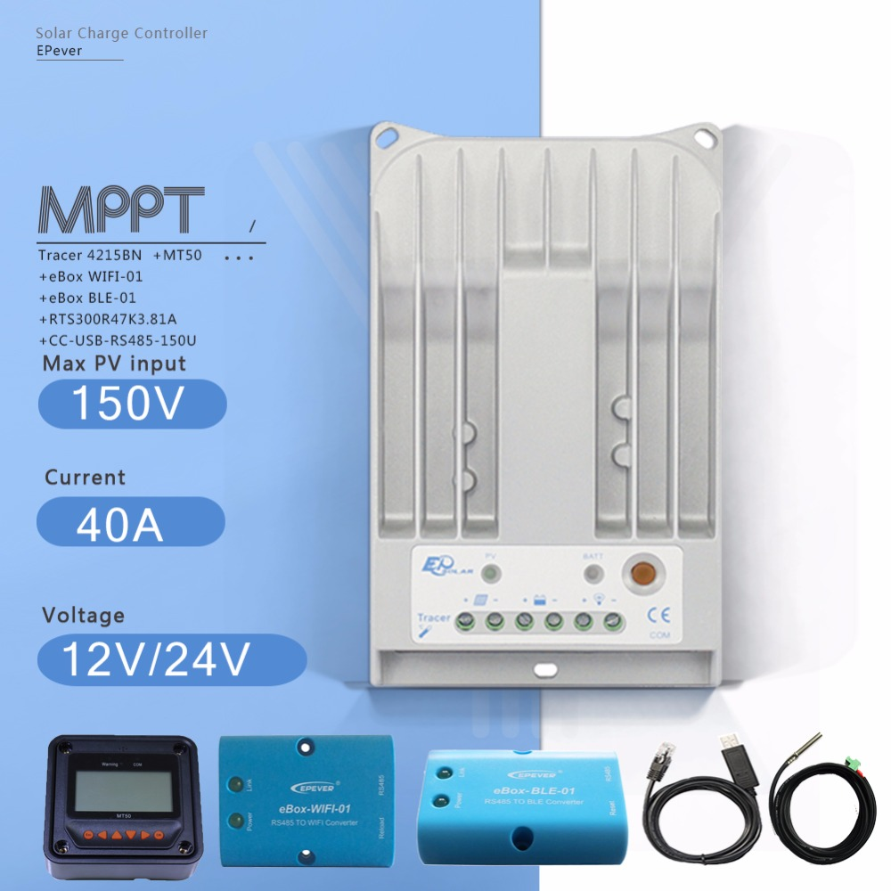 Tracer 4215BN 40A MPPT Solar Charge Controller with  MT50 Meter and EBOX-BLE EBOX-WIFI Module and USB Cable Temperature Sensor