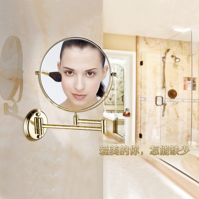 "BAKALA 8"" Wall Mounted Round Magnifying Bathroom Mirror Brass Makeup Cosmetic Mirror Lady's Private Mirrors"