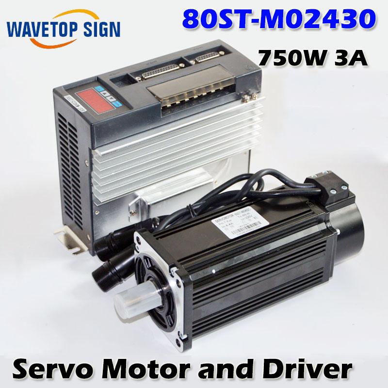 AC Servo Motor 3000RPM Single-Phase 80ST-M02430 750W 3A AC