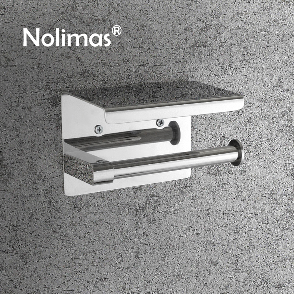 Toilet Paper Holder Stainless Steel Wall Mounted Double Toilet Paper Holder With Mobile Phone Rack Bathroom Accessories