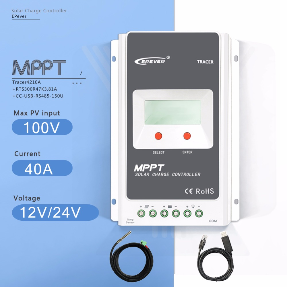 MPPT 40A Tracer4210A Solar Charge Controller 12V/24V Auto Solar Battery Charge Regulator with USB Cable and Temperature Sensor