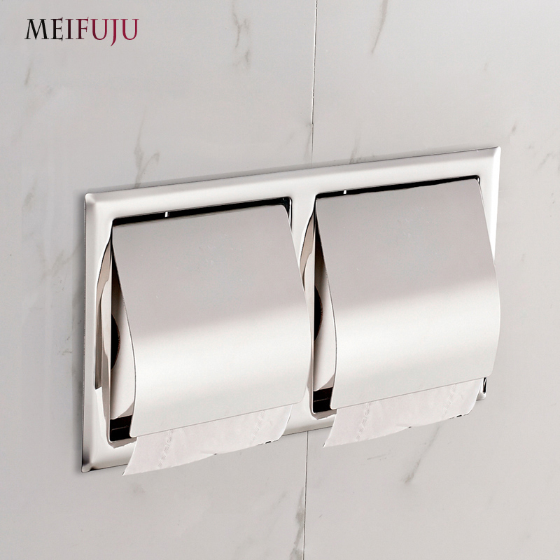 Recessed Toilet Paper Support Stainless Steel Toilet Paper Holder Wall Roll Holders Tissue Box Cover Bathroom Accessories MFJ515