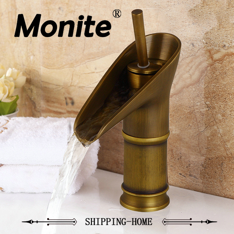 Antique Brass Basin Faucet Bathroom Faucet Hot and Cold Water Single handle Single hole Bathroom Mixer Tap High Quality Brass