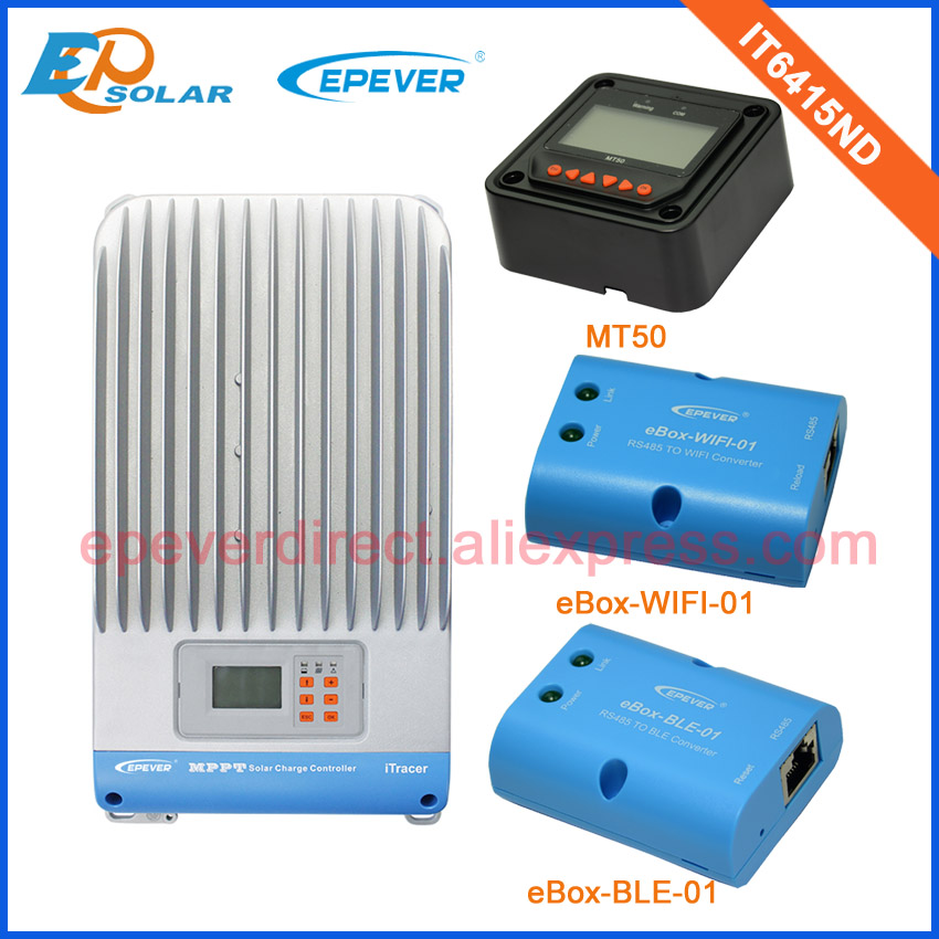 MPPT IT6415ND 60A 60amp solar regulator high efficiency with BLE and wifi function+MT50 remote meter 12v/24v/36v/48v