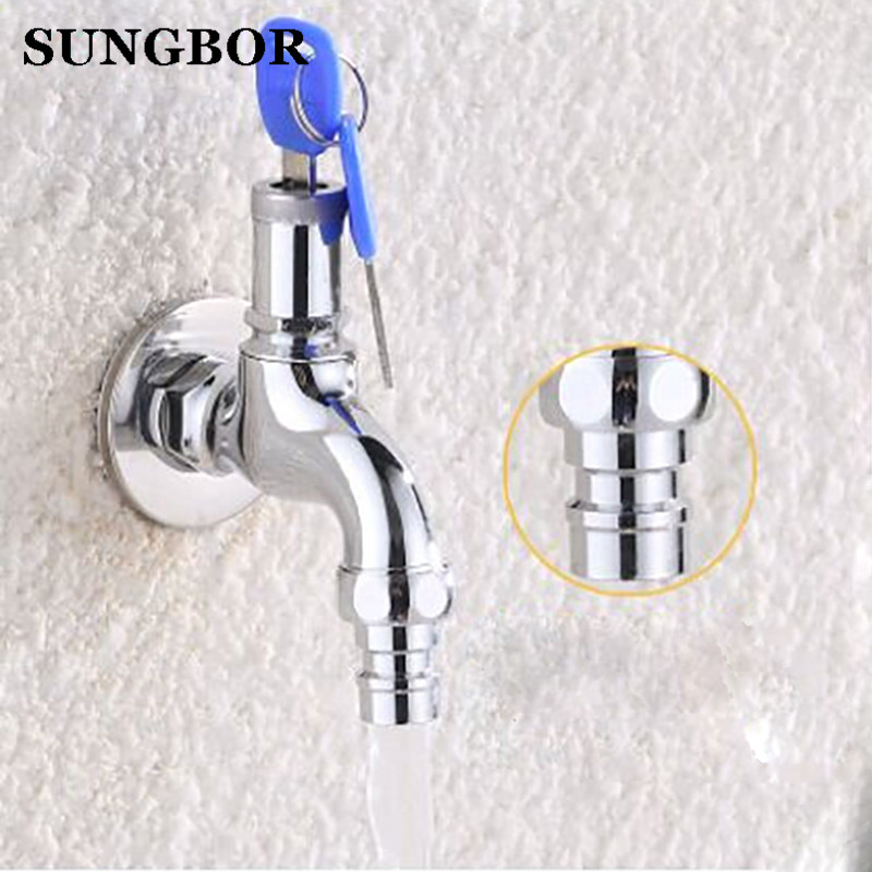 Singel Handle Chrome Torneira Washing Machine Bathroom Single Cold Wall Mounted Key Lock Switch Basin Sink Tap Faucet SZ-1217L