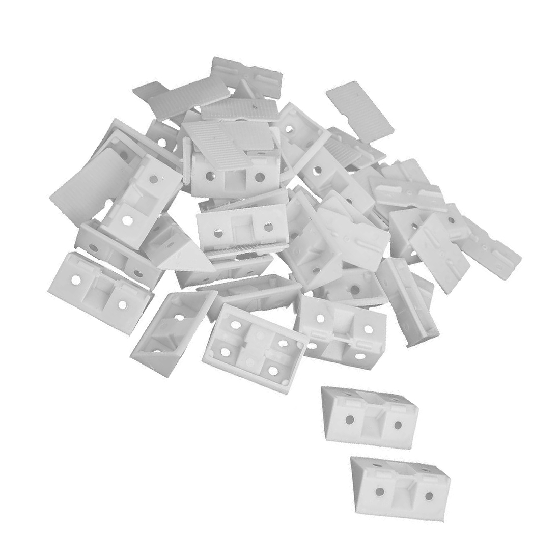SHGO Hot 30pcs Shelf Cabinet 90 Degree Plastic Corner Braces Angle Brackets White