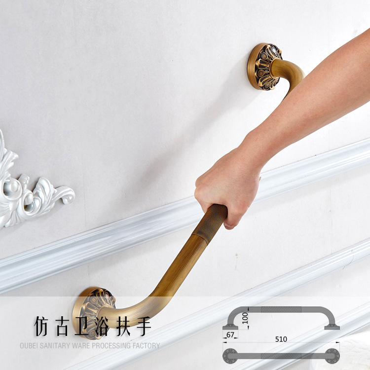 AUSWIND Antique Wall Mounted Solid Brass Carved Grab Bars Safety Handles Hand Rail Bathroom F6120