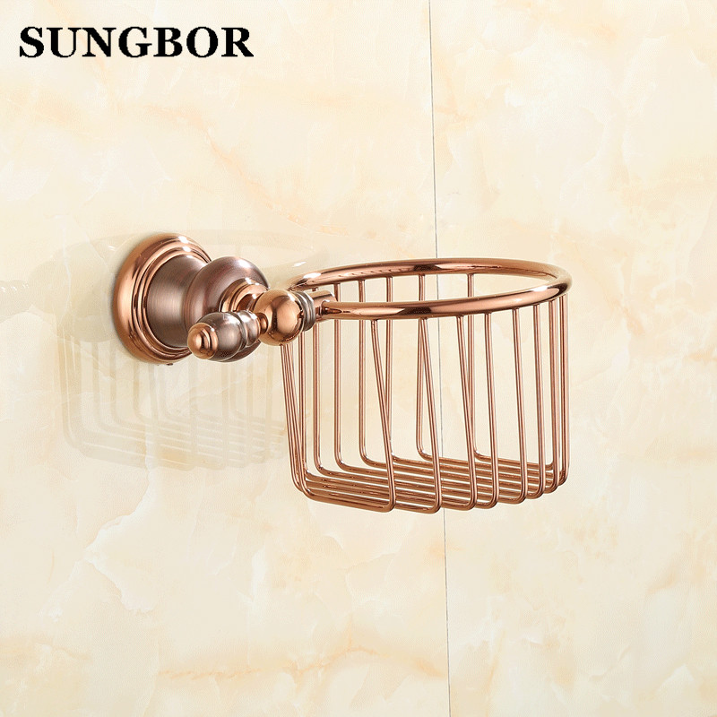 Gold brass Toilet Paper basket Holder toilet paper roll Holder,Tissue bumf Holder,Bathroom Accessories Products SJ-8107K