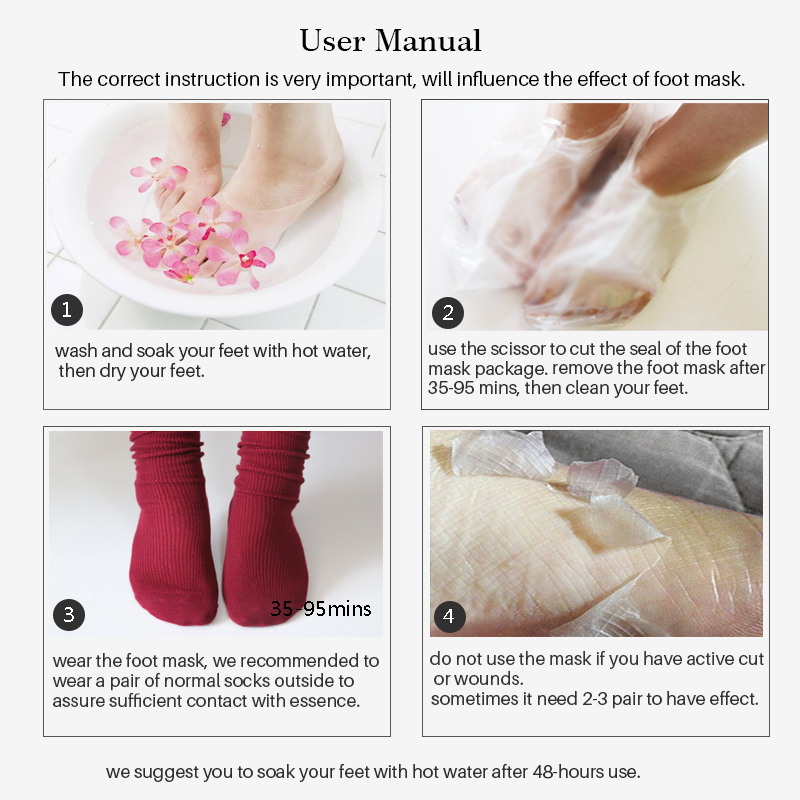 1 Pair efero Exfoliating Foot Mask Skin Care Pedicure Socks for Feet Baby Feet Exfoliation Peeling Mask Spa Socks Remove Cuticle