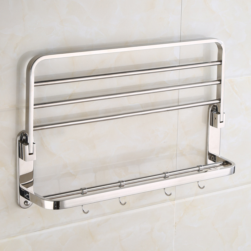 AUSWIND Modern sliver polish Folding towel rack stainless steel hotel towel rack bathroom accessories rack wall mount 60 cm