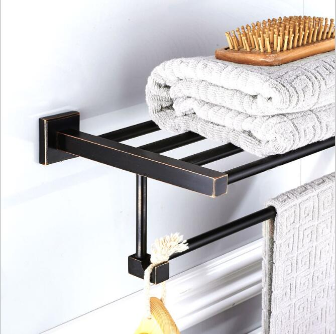 Antique Fixed Bath Towel Holder Wall Mounted Towel Rack 60 cm Square Towel Shelf Bathroom Accessories Luxury Brass Towel Rail