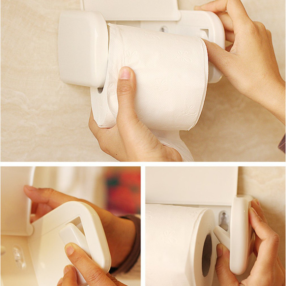 Multifunctional Sucker Type No Perforation Rolled Tissue Holder Kitchen Bathroom Toilet Roll Paper Towel Rack Plastic Holder
