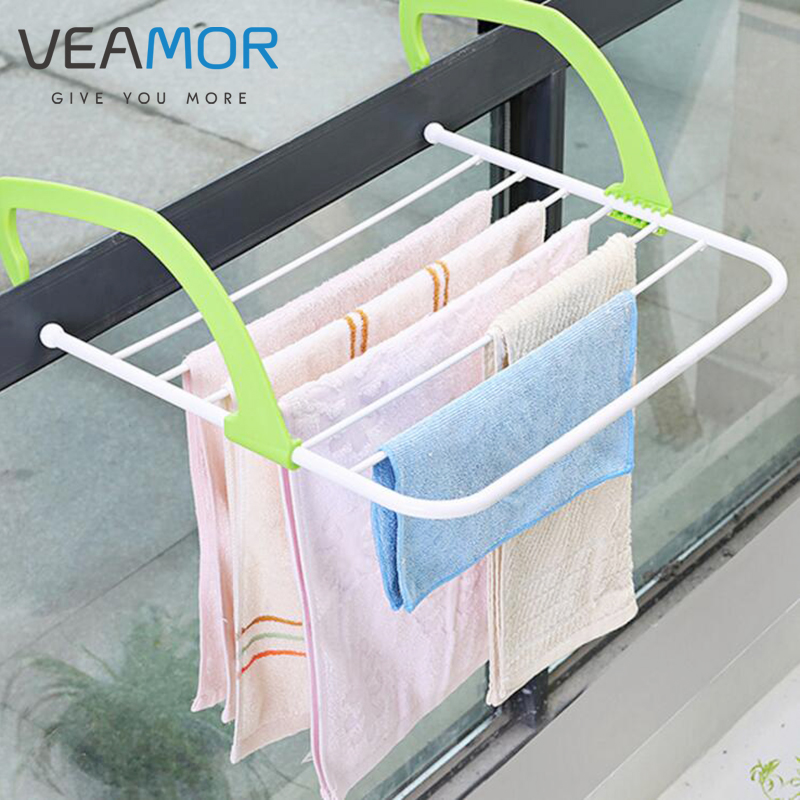 VEAMOR Balconies Outdoor Retractable Folding Clothes Stainless Steel Racks Bedroom Outdoor Drying Racks WB1521