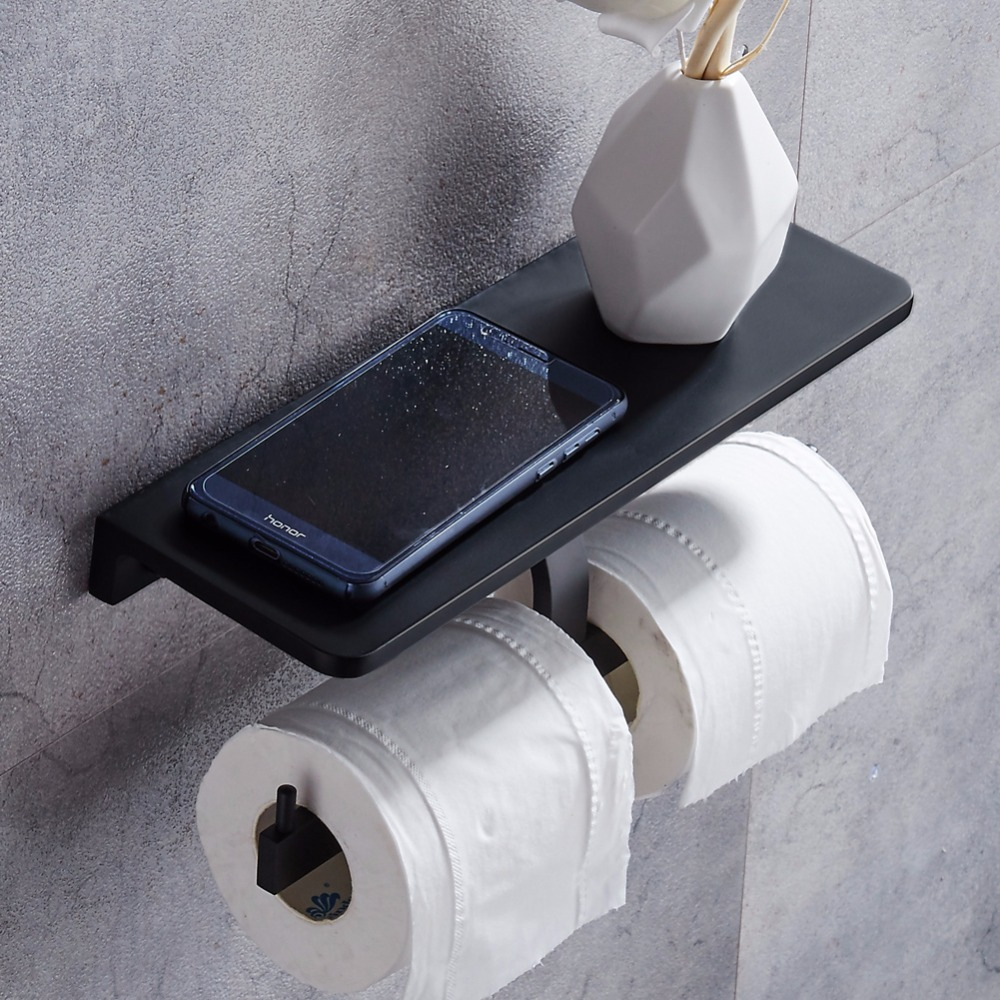 Wall Mounted Toilet Paper Holder with Black Space aluminum Double Rolls Paper Holder Bathroom Accessories