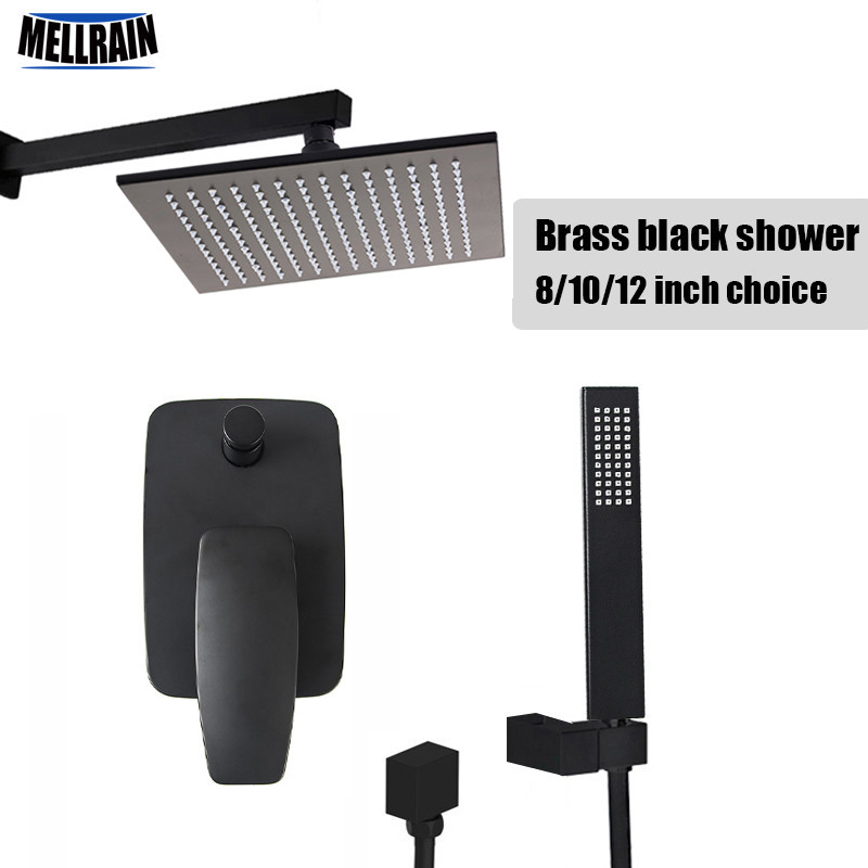 Black Color Electroplate Quality Wall Mounted Shower Set Brass Material Bathroom Bath Rain Shower Head All Accessories Complete