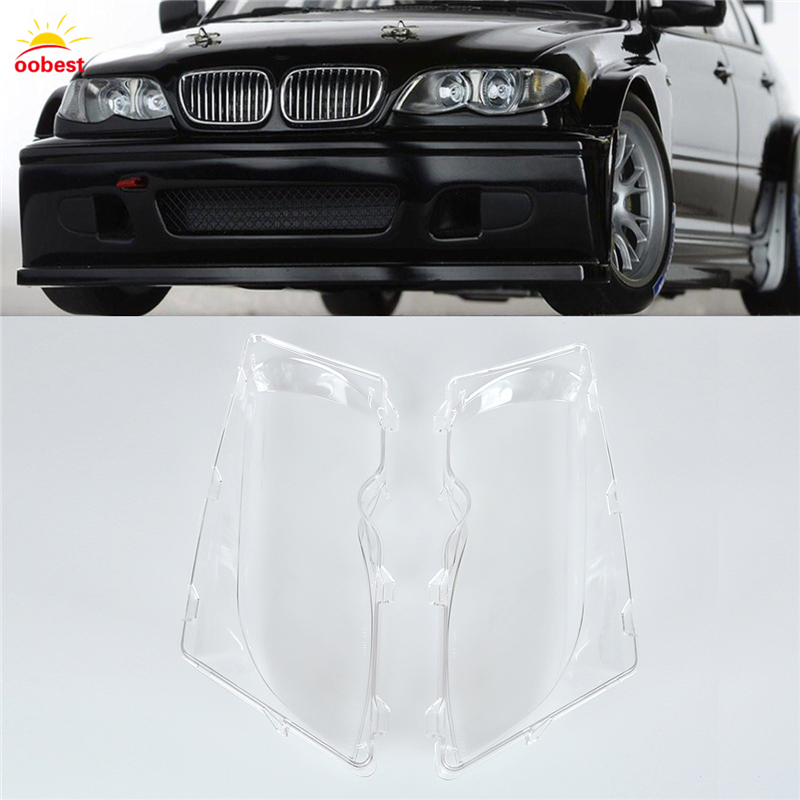 1 Pair Left & Right Front Headlight Lens Lamp Cover for BMW E46 3-series 01-06 Great High Quality Car-styling