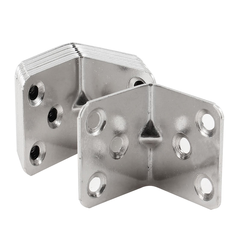 ELBA Afordable  Shelf Door 30mm x 38mm 90 Degree 6 Holes Corner Brackets Silver Tone 10 Pcs