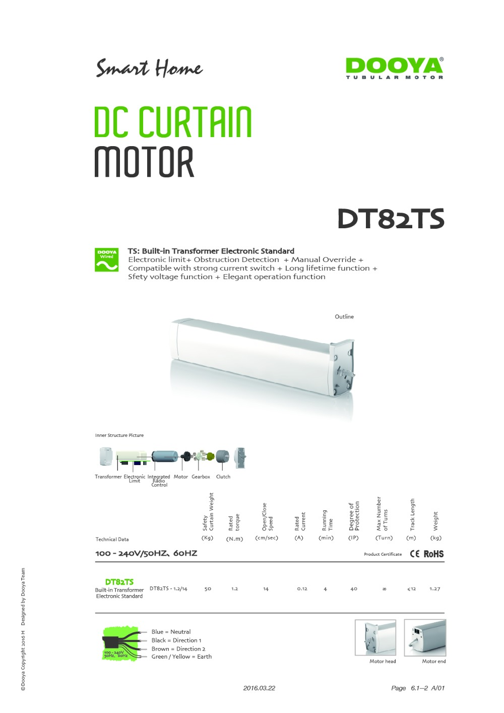 Dooya curtain motor DT82TS-1.2  5 wires, built-in transformer, control by swith and emitter for curtain, 2meters track,