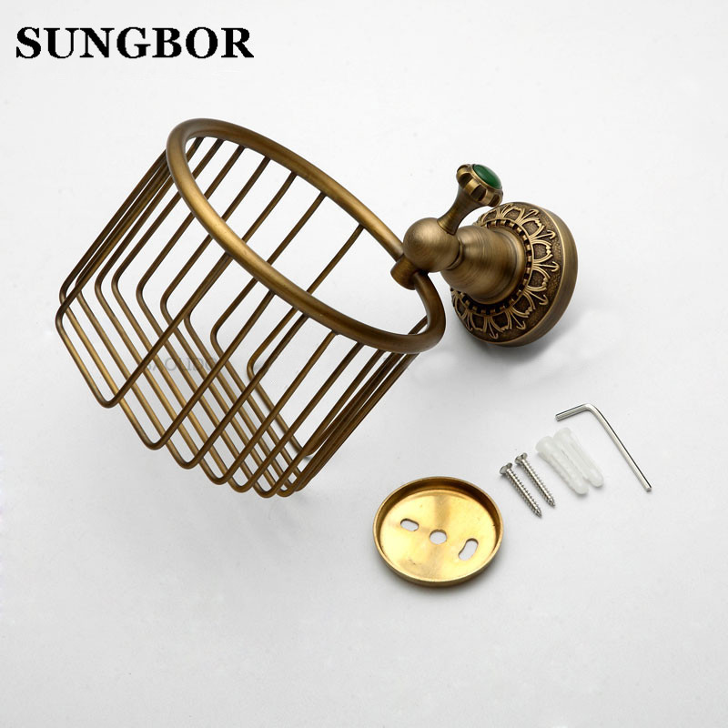 Antique bronze carved Bathroom copper roll paper holder,Roll baskets, Paper towel ring ,Tissue basket Toilet accessories