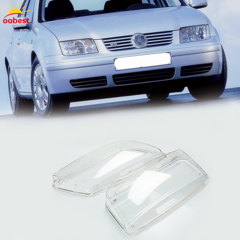 2pcs Left & Right Headlight Headlamp Clear Lenses Shell Lens Clear Cover Lamp Transparent For Volkswagen Bora 99-05 car styling