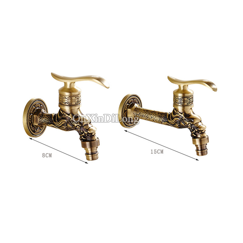 High Quality 1 Piece Wall Mount Cold Water Basin Faucet Brass Antique Washing Machine Taps Bathroom Mop Pool Taps Bibcocks Taps