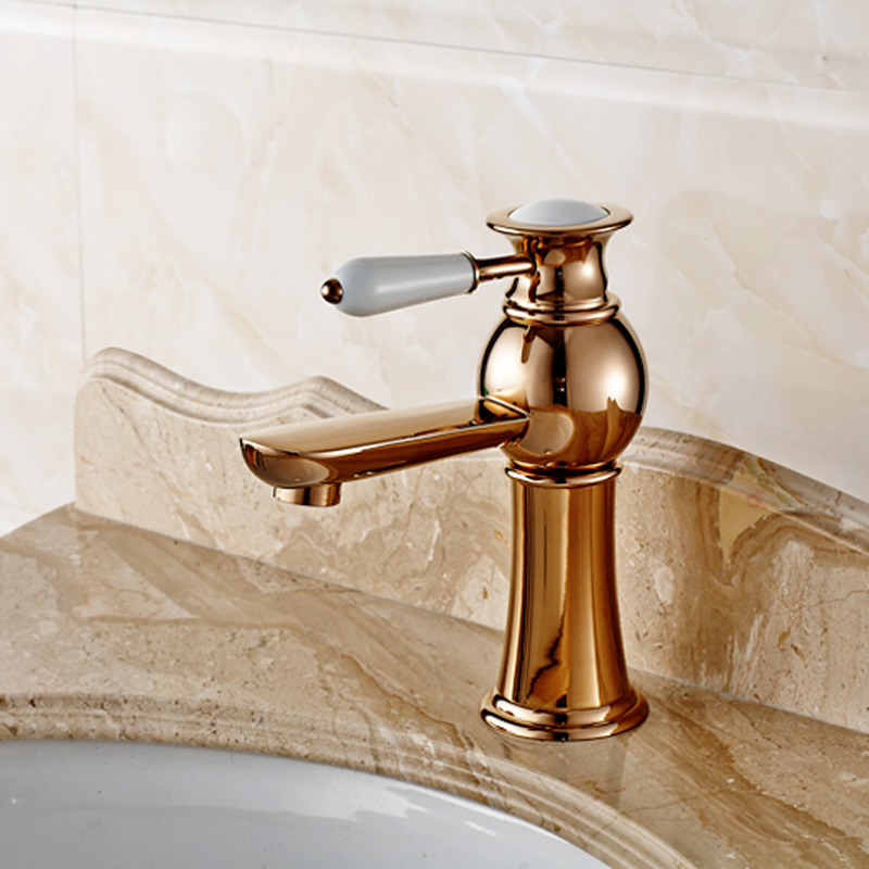 Rose Gold Faucet Luxury Antique Single Handle Polish Chrome Brass Deck Mounted Hotel Bathroom Vanity Toilet Water Basin Tap