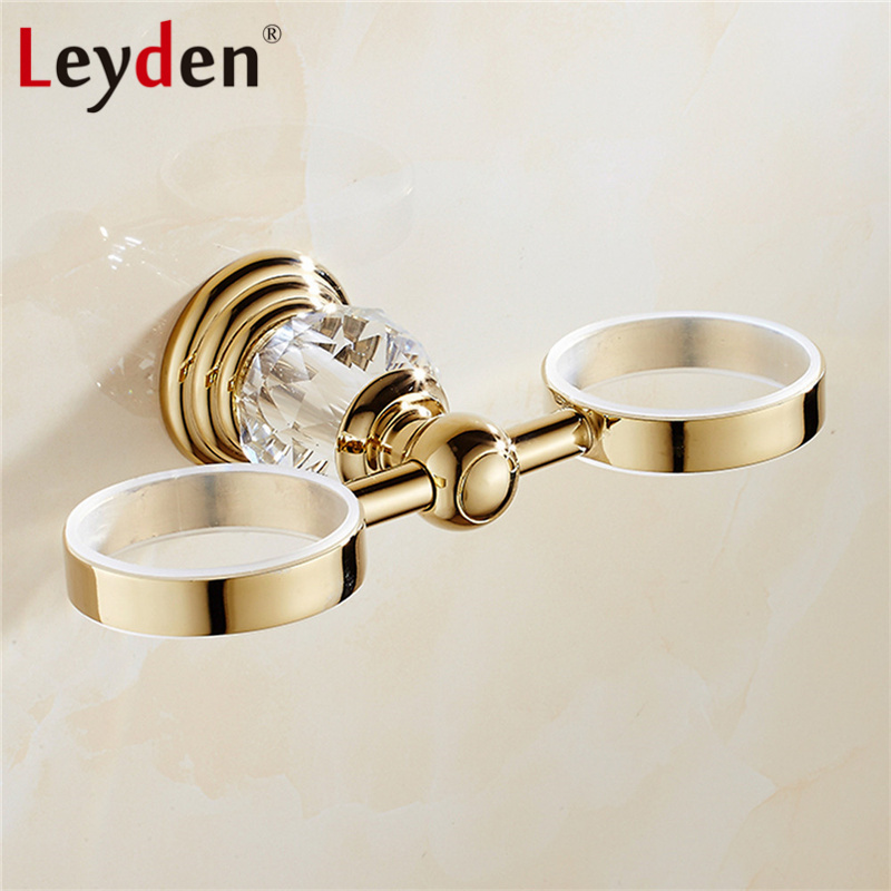 Leyden Luxury Crystal Toothbrush Holder Chrome/ Gold Wall Mounted Cup/ Tumbler Toothbrush Holder  Double Cups Bathroom Accessory