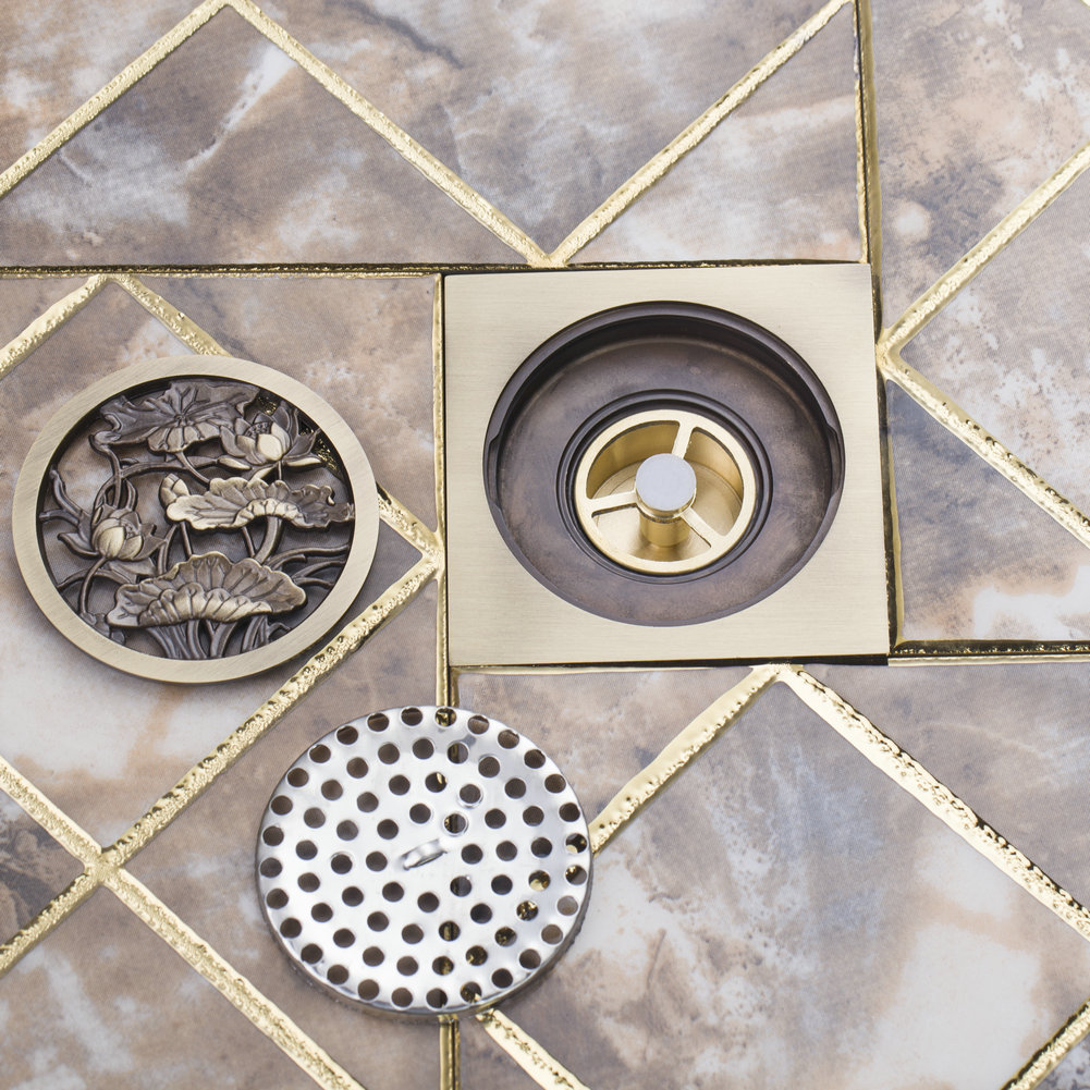 "OUBONI Bathroom Rose Antique Brass Grate Floor Register Waste Drain 4"" x 4"" 5352 Flower Art Floor Drain"