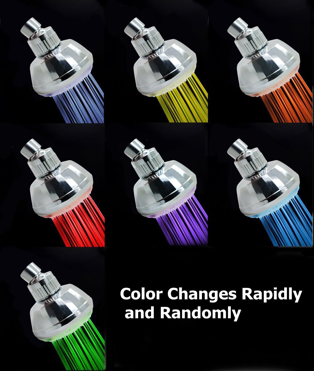 New Romantic Adjustable Automatic 360 degree 7 Color LED Shower Head Home Bathroom
