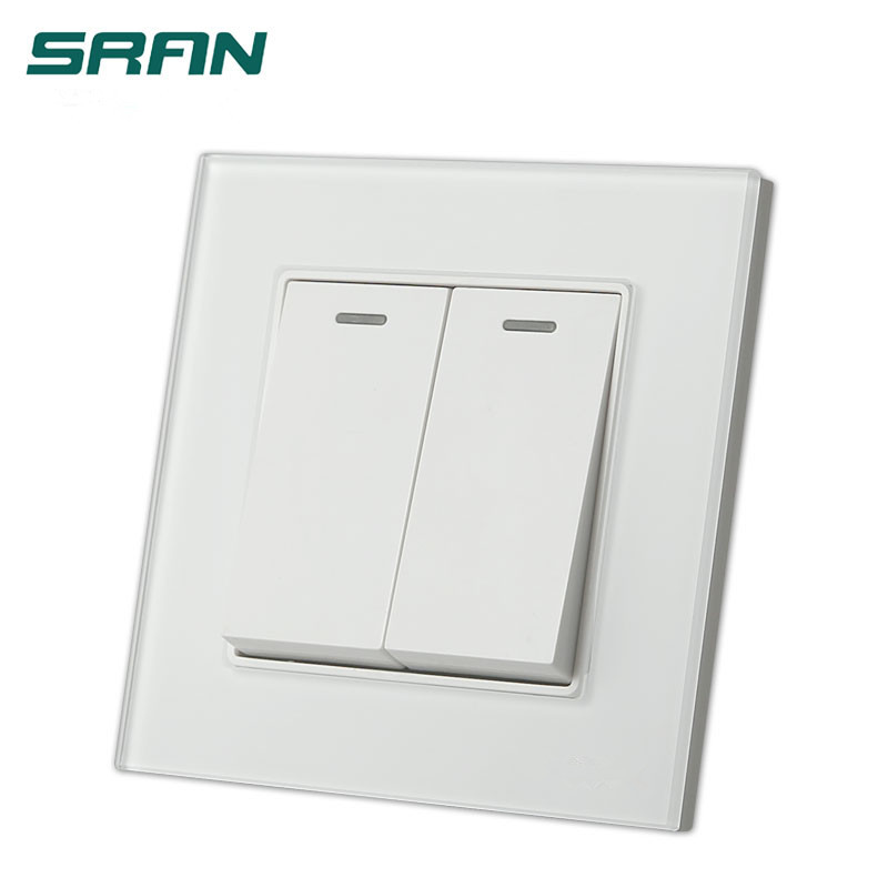 UK Standard 2 gang 2way wall switch and  Galss panel lamp switch 16A push button switch,AC110V~250V light switch
